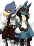 ambiguous_gender anthro avian belt bird blue_eyes blue_feathers blue_fur boots canine clothing crossover duo falco_lombardi feathers footwear fur headphones headset jacket lucario male mammal mow nintendo pokémon red_eyes scarf smile star_fox super_smash_bros unknown_artist video_games white_fur  Rating: Safe Score: 10 User: DeltaFlame Date: December 09, 2014