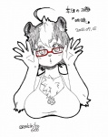 abstract_background big_breasts black_hair breasts eyewear female glasses hair japanese_text kimichika looking_at_viewer mammal multicolored_hair open_mouth short_hair simple_background sketch skunk solo text translated two_tone_hair white_hair  Rating: Safe Score: 3 User: Kinzhal Date: July 27, 2015