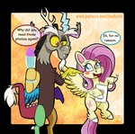 alpha_channel amber_sclera blue_eyes blush chimera dessert discord_(mlp) draconequus equid equine fluttershy_(mlp) food friendship_is_magic hasbro ice_cream inuhoshi-to-darkpen mammal my_little_pony my_little_pony:_pony_life pegasus red_eyes tablet wings yellow_sclera