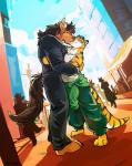 anthro barefoot bovine claws clothed clothing duo eyes_closed feline fur goggle hair horn kissing male male/male mammal mane pants public romantic shirt smile standing stripes suit super-tuler tank_top tiger toe_claws whiskers   Rating: Safe  Score: 14  User: Notkastar  Date: May 15, 2015
