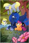 blonde_hair blue_eyes blue_fur blush crown cutie_mark derpy_hooves_(mlp) equine eyes_closed female flower friendship_is_magic fur hair horn mammal my_little_pony orange_fur pegasus princess_luna_(mlp) scootaloo_(mlp) stepandy surprise_(mlp) water white_fur winged_unicorn wings   Rating: Safe  Score: 11  User: nom123  Date: March 02, 2014