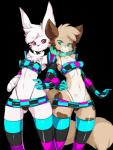 """alpha_channel amputee anthro bandage black_nose bow brown_fur canine clothed clothing collar duo female fur green_eyes green_nose lagomorph legwear mammal multicolored_fur rabbit red_eyes skimpy slugbox stockings tan_fur tube_top white_fur  Rating: Questionable Score: 9 User: Jade_Angel Date: June 19, 2015"""""""