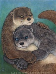 2013 amber_eyes ambiguous_gender blue_eyes brown_fur cuddling cute dark_natasha duo feral feral_on_feral fur grey_fur hug mammal mixed_media mustelid otter whiskers