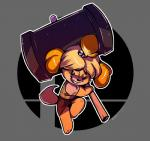 2018 accessory animal_crossing anthro blonde_hair canid canine canis clothing domestic_dog female gyuu-chan hair hair_accessory hammer hi_res isabelle_(animal_crossing) logo long_ears mammal nintendo shih_tzu smile solo super_smash_bros. tools toy_dog video_games