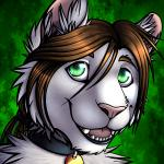 abstract_background ambiguous_gender anthro brown_hair collar collar_tag feline fur green_eyes hair leo_nine lion mammal open_mouth ponytail ratte solo white_fur