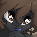 anthro black_fur blue_nose brown_eyes brown_hair bust_portrait canine conditional_dnp digital_media_(artwork) dog female fur hair jay_naylor long_hair low_res mammal portrait reaction_image sherri_mayim simple_background solo