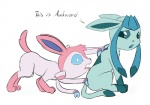 ambiguous_gender blue_eyes bow canine dialog eeveelution feral glaceon humor mammal nintendo open_mouth paws plain_background pokémon posexe sylveon text tongue video_games white_background   Rating: Safe  Score: 3  User: posexe  Date: April 11, 2014