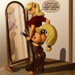 2013 absurd_res animal_genitalia anthro anthrofied applejack_(mlp) belt biting_lip blonde_hair butt clothing cutie_mark dialogue dickgirl earth_pony english_text equine erection freckles friendship_is_magic hair hi_res horse horsecock inside intersex kevinsano long_hair mammal mirror my_little_pony penis pony reflection shadow solo text thong underwear vein   Rating: Explicit  Score: 37  User: lemongrab  Date: March 08, 2015