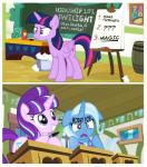2015 annoyed awake cape chalkboard chaurus_eggs clothing comic desk energy_drink english_text equine female friendship_is_magic horn mammal my_little_pony pen pixelkitties starlight_glimmer_(mlp) text trixie_(mlp) twilight_sparkle_(mlp) unicorn winged_unicorn wings  Rating: Safe Score: 7 User: 2DUK Date: November 29, 2015