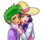 blush clothed clothing dress duo eyes_closed female friendship_is_magic gloves green_eyes green_hair hair hat human humanized male mammal my_little_pony nuzzle pia-sama plain_background purple_hair rarity_(mlp) smile spike_(mlp) white_background   Rating: Safe  Score: 13  User: darknessRising  Date: May 09, 2014