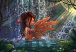 2015 brown_hair cervine collaboration deer equine fan_character female glowing hair hybrid lily_pad mammal my_little_pony necklace outside pegasus plant sirzi solo water waterfall wings yakovlev-vad  Rating: Safe Score: 18 User: 2DUK Date: August 12, 2015