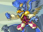 2007 4:3 abstract_background anthro avian beak blue_fur clothing crown digital_media_(artwork) digitigrade eyrie feathered_wings feathers fist fur grey_fur grey_mane gryphon male mane neopets official_art pants red_eyes shirt solo standing vest wings yellow_scleraRating: SafeScore: 1User: concerned-neopianDate: April 26, 2018