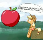 2014 animated apple applejack_(mlp) blonde_hair bush crate cutie_mark dialog english_text equine female freckles friendship_is_magic fruit grass green_eyes hair hat horse levitation mammal my_little_pony outside pony sitting text whatsapokemon   Rating: Safe  Score: 9  User: 2DUK  Date: April 13, 2014