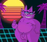 1980s balls beckoning big_balls eyewear flaccid fur gengar ghost grin hair humanoid jack_wilebane male nintendo overweight penis pokémon pokémon_(species) purple_balls purple_fur purple_hair purple_penis smile solo spiky_hair spirit sunglasses undead unhinged-omega video_games wide_hips