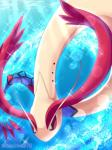 2018 ambiguous_gender milotic nintendo pokémon pokémon_(species) red_eyes reptile scalie serpentine solo teoluve378 underwater video_games water