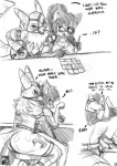 anthro blush breasts butt canine cleavage clothed clothing comic dialogue digimon duo english_text eyewear female female/female fox greyscale looking_back mammal monochrome nipples pussy_juice renamon s'zira s-nina simple_background text white_background  Rating: Explicit Score: 14 User: NotMeNotYou Date: August 26, 2012