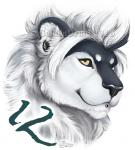12 badge black_and_white black_sclera ear_piercing feline gauged_ear goldendruid heterochromia lion male mammal monochrome piercing solo  Rating: Safe Score: 5 User: Twelve Date: October 01, 2015