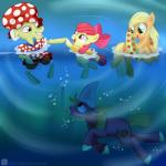2014 amber_eyes apple_bloom_(mlp) applejack_(mlp) big_macintosh_(mlp) blonde_hair bow bubble clothing cutie_mark earth_pony equine female freckles friendship_is_magic granny_smith_(mlp) green_eyes grey_hair group hair high_five horse inflatable_ring male mammal multicolored_hair my_little_pony partially_submerged pony red_hair shark_fin snorkel swanlullaby swimming swimsuit two_tone_hair underwater water white_hair  Rating: Safe Score: 5 User: 2DUK Date: May 04, 2014