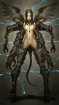 clothing cybernetics cyborg female hi_res human kyoungseok_oh legwear machine mammal multi_limb not_furry nude platform_shoes pubes solo stockings technophilia wings