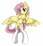 anthro breasts cleavage clothed clothing cutie_mark equine female fluttershy_(mlp) friendship_is_magic fur green_eyes hair half-dressed legwear long_hair mammal my_little_pony navel nipples panties pegasus pink_hair solo thigh_highs topless underwear wings yellow_fur  Rating: Questionable Score: 10 User: Gundam4Ever Date: July 24, 2015