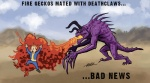 damn_nature_you_scary deathclaw desert duo fallout fire fire_geckos human male mammal monster nightmare_fuel running scared unknown_artist unknown_species vault_boy video_games what_has_science_done