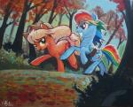 2013 adlynh applejack_(mlp) blonde_hair blue_feathers blue_fur cowboy_hat cutie_mark duo earth_pony equine feathers female feral forest friendship_is_magic fur green_eyes hair hat horse landscape leaves mammal multicolored_hair multicolored_tail my_little_pony nature orange_fur outside painting_(artwork) pegasus pony rainbow_dash_(mlp) rainbow_hair rainbow_tail red_eyes road rope running sky smile traditional_media_(artwork) tree wings  Rating: Safe Score: 6 User: ConsciousDonkey Date: January 30, 2016