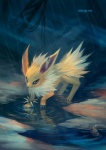 2016 ambiguous_gender big_ears black_claws black_nose blue_eyes bracelet claws detailed_background digital_media_(artwork) eeveelution eldrige erebus fan_character feral front_view fur jewelry jolteon long_ears multicolored_fur nintendo notched_ear plushie pokémon puddle quadruped raining reflection solo spiked_bracelet spikes teddiursa two_tone_fur url video_games water white_fur yellow_fur
