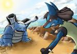 anthro blastoise cloud day duo fangs fight lucario nintendo pokémon teeth video_games water