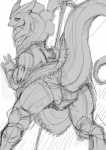 """armor black_and_white clothing dragon etheross female halberd half_plate looking_at_viewer melee_weapon monochrome open_mouth panties polearm presenting raised_tail scalie sketch underwear weapon  Rating: Questionable Score: 8 User: Ramah1010 Date: June 30, 2015"""""""