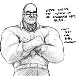 1:1 comic crossed_arms dialogue eyewear glasses hi_res hladilnik human humor konami lol_comments male mammal meme metal_gear metal_gear_rising:_revengeance monochrome muscular muscular_male not_furry simple_background sketch solo steven_armstrong subway_(restaurant) video_games white_background