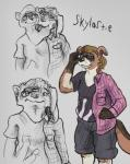 artie canine clothing dog female ferret fusion male mammal merging multi_head mustelid shirt shorts simple_background skyler the-b3ing transformation