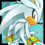 abstract_background anthro cristianharold0000 fur grey_body hedgehog male mammal silver_the_hedgehog solo sonic_(series) tagme white_fur yellow_eyes