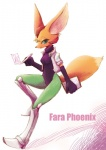 anthro arwing black_nose bodysuit brown_fur canine clothing english_text fara_phoenix female fennec fox fur gloves green_eyes headphones headset jacket long_ears mammal nintendo sho sho_shibamoto simple_background skinsuit smile solo star_fox text tight_clothing video_games white_fur