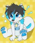 ! 4_toes 5_fingers <3 anthro baby black_hair blue_eyes blue_fur blush canine cub curled_tail cute diaper dog dyed_hair foot_focus fur hair hair_over_eyes happy husky hybrid male mammal nappies pacifier pawpads paws simple_background sitting solo toes wolf yellow_background young yuni_(character) yuniwolfsky  Rating: Safe Score: 10 User: stickypaws Date: June 18, 2014