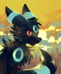 ambiguous_gender black_fur canine eeveelution feral fur looking_at_viewer mammal nintendo pokémon red_eyes shiny_pokémon solo sunset umbreon video_games yassui   Rating: Safe  Score: 14  User: DeltaFlame  Date: December 07, 2014