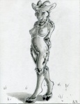 """2012 anthro breasts caprine cloven_hooves female goat greyscale hooves horn looking_at_viewer mammal monochrome nipples nude ruaidri solo standing  Rating: Questionable Score: 18 User: ippiki_ookami Date: January 31, 2012"""""""