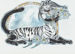 2012 chakat feline female flower heather_bruton lying plain_background solo stripes taur tiger white_background white_tiger   Rating: Safe  Score: 4  User: stranger_furry  Date: August 25, 2012