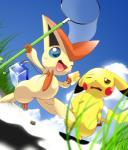 2011 2_toes 3_fingers 5_fingers ambiguous_gender black_nose blue_eyes blush bodily_fluids brown_eyes butterfly_net conditional_dnp container depth_of_field dipstick_ears duo fangs fingers food grass holding_food holding_object legendary_pokémon low-angle_view multicolored_ears nintendo one_eye_closed open_mouth open_smile oze pikachu pokémon pokémon_(species) popsicle red_cheeks sky smile sweat tan_body toes victini video_games walking yellow_body