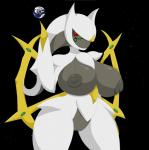anthro anthrofied arceus big_breasts breasts earth elfdrago female giant hi_res huge_breasts legendary_pokémon looking_at_viewer nintendo nipples planet pokémon pokémorph pussy red_eyes solo space video_games voluptuous wide_hips  Rating: Explicit Score: 17 User: elfdrago Date: December 30, 2014