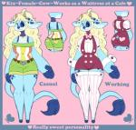 4_fingers :3 <3 ahoge alternate_costume anthro bangs barefoot big_ears blonde_hair blue_border blue_fur blue_nose bovine bow_tie cattle clothing dipstick_tail english_text female fur green_clothing hair heartthrob_cafe hi_res hooves horn irootie kix_(irootie) leggings legwear light_fur long_ears long_hair long_tail looking_at_viewer mammal model_sheet multicolored_fur multicolored_tail no_iris no_sclera overalls pink_background red_clothing shirt shorts simple_background smile solo spots spotted_fur text three_tone_fur waiter wide_hipsRating: SafeScore: 1User: AbiCordoDate: May 23, 2018