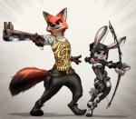 2016 absurd_res anthro armor arrow belt black_nose bow_(weapon) brown_fur canine clothed clothing cosplay crossover digital_media_(artwork) dipstick_tail disney duo fangs female final_fantasy final_fantasy_xii footwear fox fully_clothed fur green_eyes grey_fur gun helmet hi_res holding_object holding_weapon judy_hopps lagomorph long_ears male mammal midriff multicolored_tail mykegreywolf nick_wilde purple_eyes rabbit ranged_weapon signature square_enix standing video_games weapon zootopia