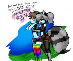 2015 <3 anthro boy_shorts bulge butt clothing dialogue duo english_text girly grinding grope imminent_sex legwear looking_back male male/male mammal mouse norithics raccoon rainbow rainbow_stockings rodent short_shirt side_view stockings text underwear  Rating: Questionable Score: 4 User: Robinebra Date: July 03, 2015""