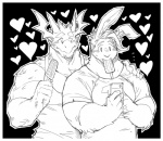 5_fingers <3 black_and_white black_background clothed clothing couple dragon duo food fur hair hand_on_shoulder horn kokuhane lagomorph love male male/male mammal monochrome muscular muscular_male object_in_mouth phone popsicle rabbit rg01 rg02 scales shirt simple_background tank_top undertale video_games  Rating: Safe Score: 19 User: zidanes123 Date: December 26, 2015
