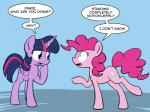 """2014 blue_eyes cutie_mark dialogue duo english_text equine female feral friendship_is_magic hair horn mammal my_little_pony pink_hair pinkie_pie_(mlp) purple_eyes purple_hair text twilight_sparkle_(mlp) whatsapokemon winged_unicorn wings  Rating: Safe Score: 11 User: 2DUK Date: January 02, 2015"""""""