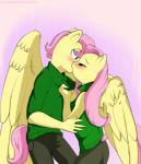 2012 anthro anthrofied blue_eyes blush chicasonic clothing crossgender duo equine eyes_clsoed female fluttershy_(mlp) friendship_is_magic hair kissing male mammal my_little_pony pegasus pink_hair sweater wings   Rating: Safe  Score: 5  User: 2DUK  Date: April 26, 2015