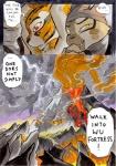 anthro better_late_than_never comic daigaijin dreamworks felid female fire kung_fu_panda leopard lightning mammal master_tigress painting_(artwork) pantherine red_eyes tiger traditional_media_(artwork) volcano wan_wu watercolor_(artwork) wing_wu wu_sisters yellow_eyes