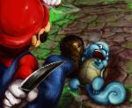 ambiguous_gender blue_skin crossover duo facial_hair human kabotya_to_rantan knife male mammal mario mario_bros nintendo open_mouth pokémon scared shell squirtle video_games  Rating: Questionable Score: 0 User: UNBERIEVABRE! Date: June 01, 2014