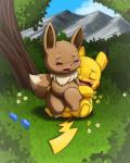 ambiguous_gender ambiguous_penetration blush detailed_background eevee lkiws male male/ambiguous nintendo penetration penis pikachu pokémon pokémon_(species) sex slightly_chubby video_games