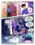 anthro bk black_hair blue_eyes canine clancy_(tokifuji) clothed clothing comic dialogue dog doughnut duo eating english_text feline food german_shepherd grey_hair hair male mammal purple_eyes screen security tailwag text tiger tokifuji