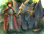 2014 armor brown_hair capcom clothing cosplay crossover dragon dragons_dogma duo feral green_eyes hair hat hiccup_(httyd) how_to_train_your_dragon hpa human male mammal night_fury scalie shield toothless video_games wings   Rating: Safe  Score: 19  User: e17en  Date: December 12, 2014